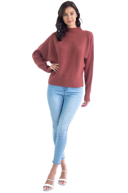 Pink Liberty Sweet Soul Mock Neck Ribbed Sweater Rust