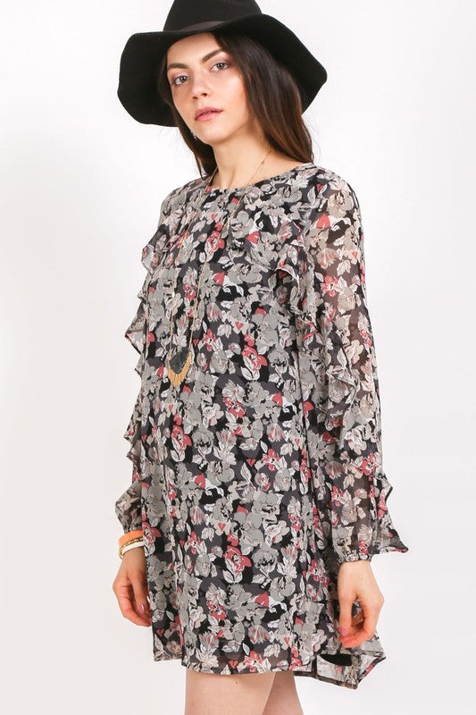 Coming Up Rosy Floral Tunic Swing Dress