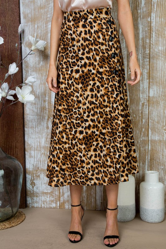 Pink Liberty Leopard Print Button Midi Skirt