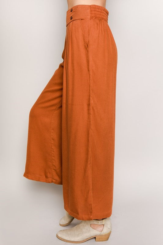 Be Rae Double Button Wide Leg Culotte Pants