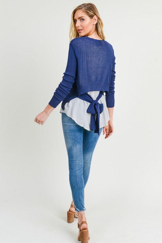 Just Lucky Layered Sweater Top with Tie Back