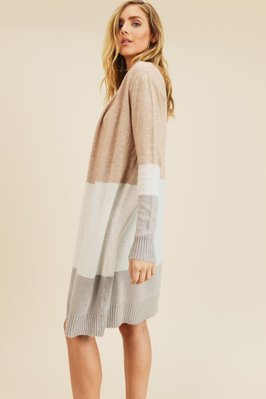 Cashmere Tri-Colorblock Long Sleeve Open Cardigan