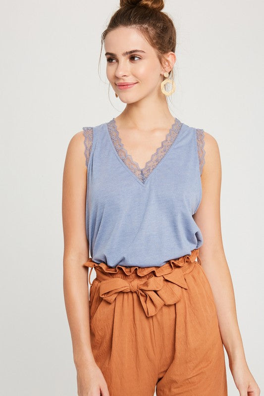 Nouveau Riche Lace Jersey V-Neck Sleeveless Top