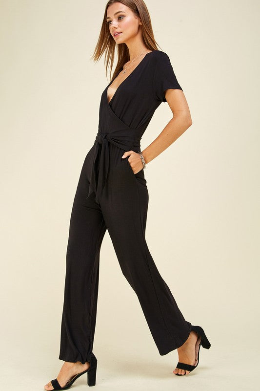 Run with Me Solid Jumpsuit with Tie Waist