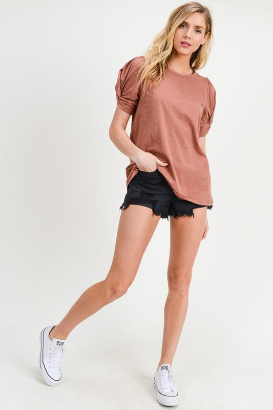 Call Me Round Neck T-Shirt with Twist Sleeves