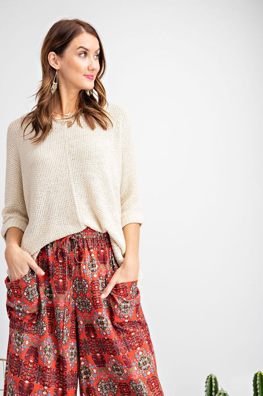 Pink Liberty It's a Breeze High-Low Sweater Knit Top Oatmeal