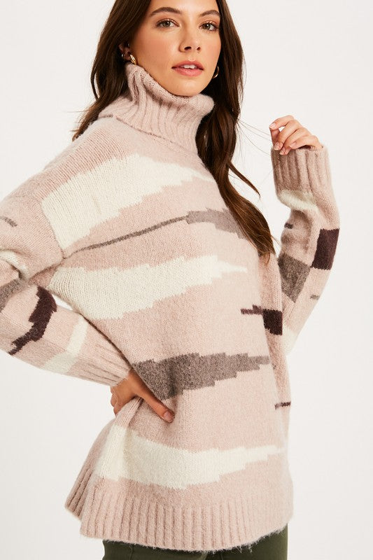 Wild Side Zebra Print Turtleneck Sweater
