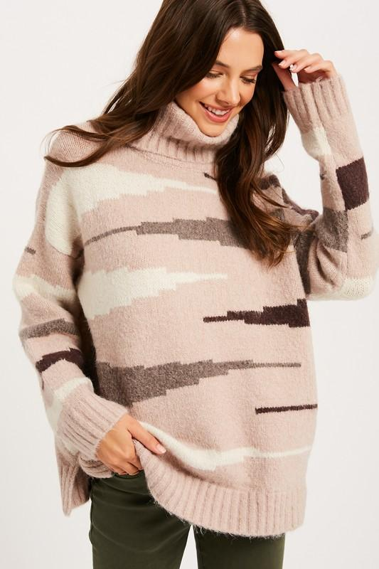 Pink Liberty Wild Side Zebra Print Turtleneck Sweater Taupe