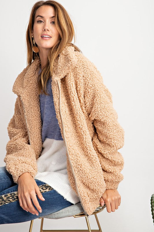 Pink Liberty Warm and Cozy Sherpa Faux Fur Teddy Jacket Camel
