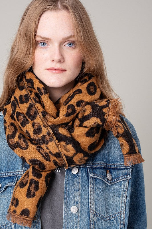 Pink Liberty Wildly Wonderful Leopard Print Scarf Black Mustard