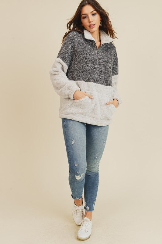 All the Cozies Two-Tone Fuzzy Teddy Zip Pullover