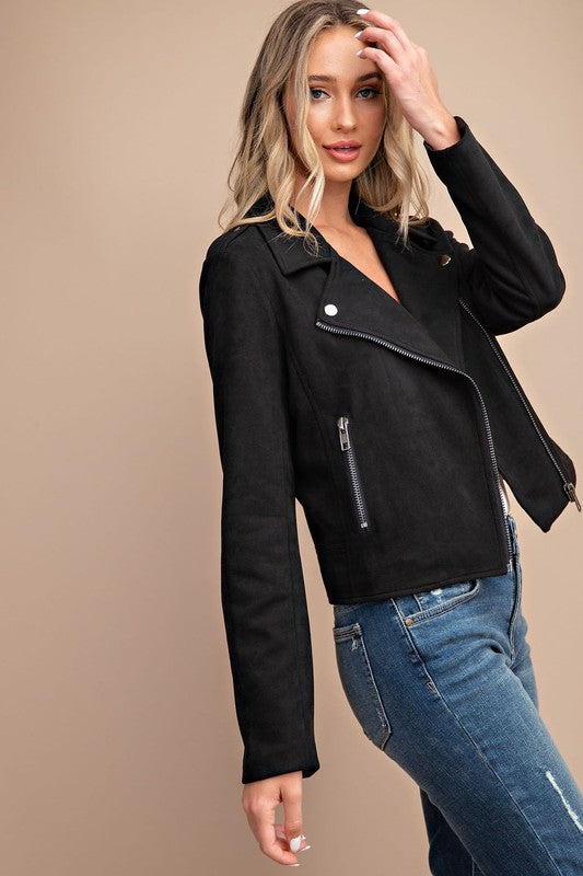 Pink Liberty Elena Everyday Faux Suede Moto Jacket Black
