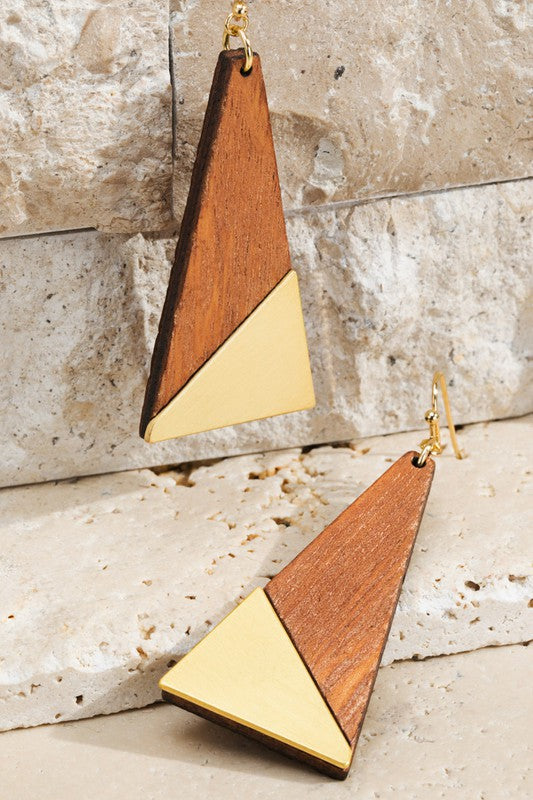 Pink Liberty Geometric Contrast Wood Triangle Earrings Brown and Gold