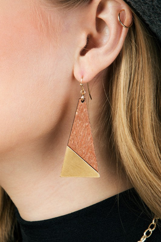 Get Glam Geometric Contrast Wood Triangle Earrings