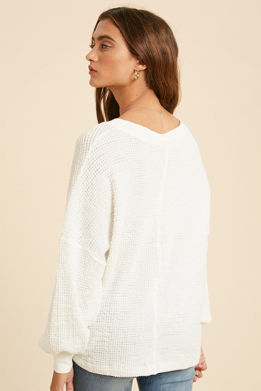 Wishful Wonderland Waffle Knit V-Neck Top