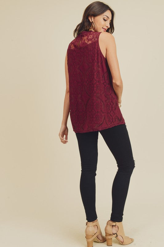 Amelia Front Seam Lace Detail Sleeveless Top