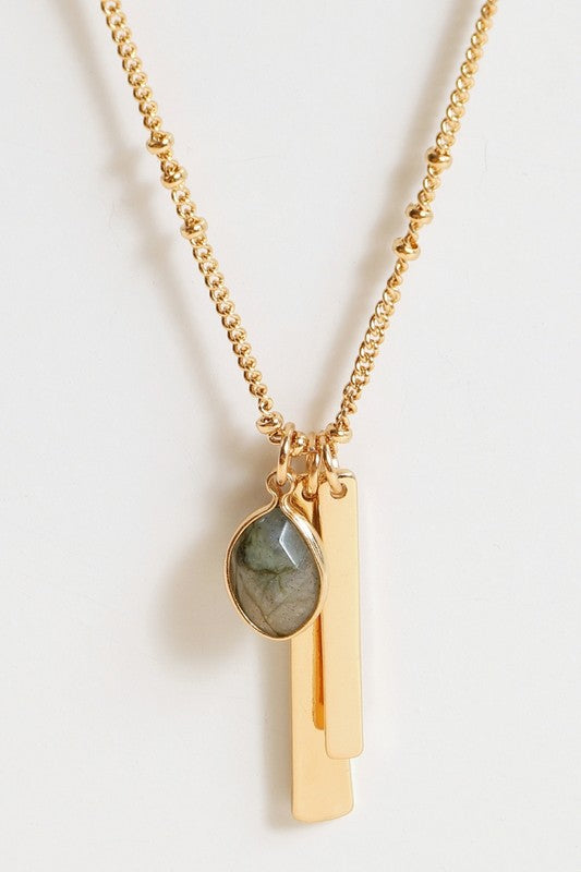 Just Be Me Stone and Metal Bar Necklace