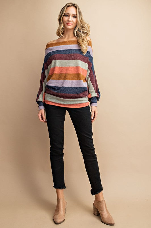Wake Me Up Striped Off The Shoulder Top