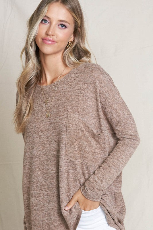 Pink Liberty Casual Magic Oversized Heather Tunic Mocha