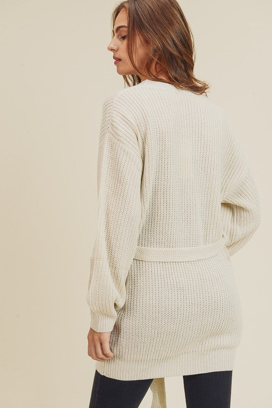 On the Rise Belted Cable Knit Cardigan
