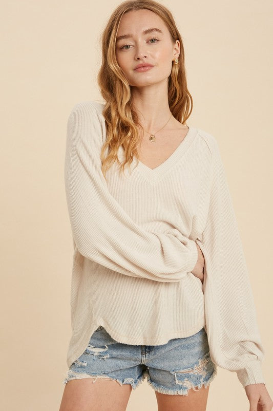 Pink Liberty Feel Good Brushed Hacci Knit V-Neck Rib Top Cream