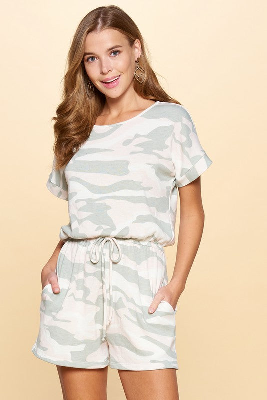 Pink Liberty Camo Romper with Pockets