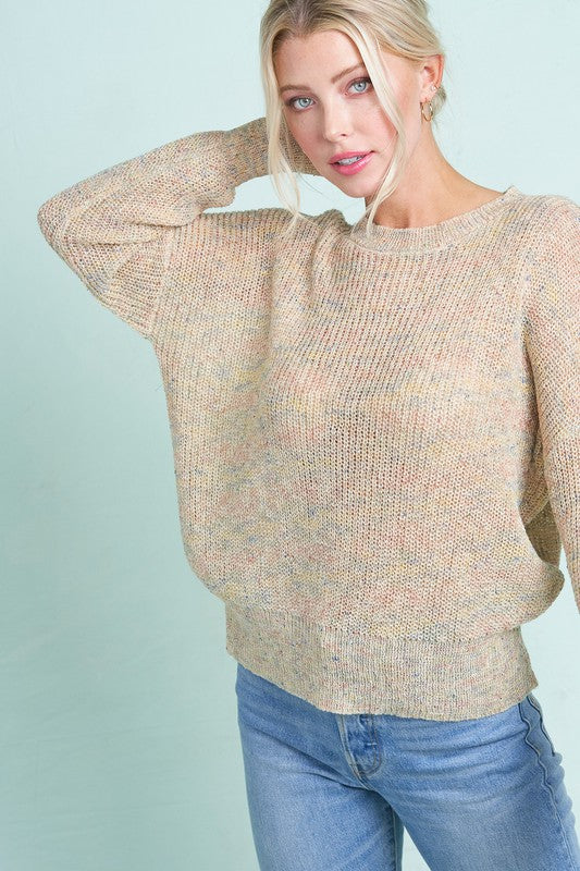 Pink Liberty Creamsicle Rainbow Crew Neck Back Detail Knit Sweater