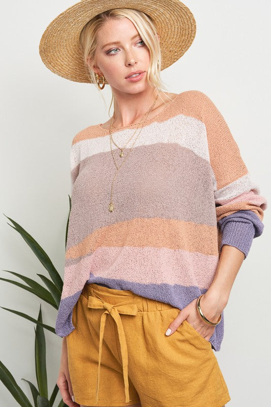 Pink Liberty Desert Mirage Colour Block Knit Sweater Multi Colour