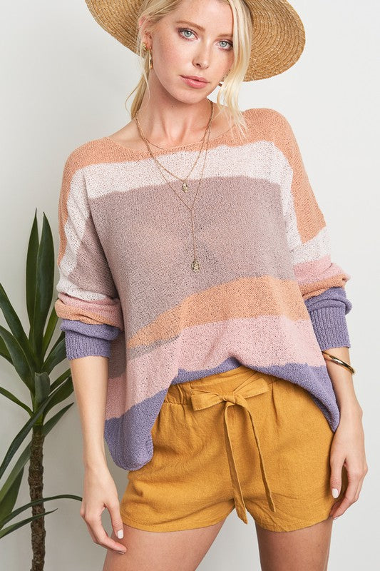 Desert Mirage Colour Block Knit Sweater