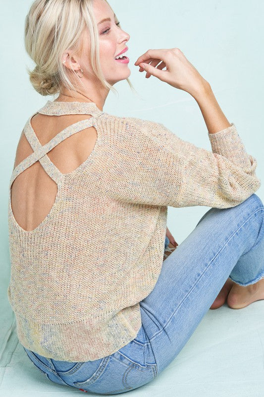 Creamsicle Rainbow Cross Back Detail Knit Sweater