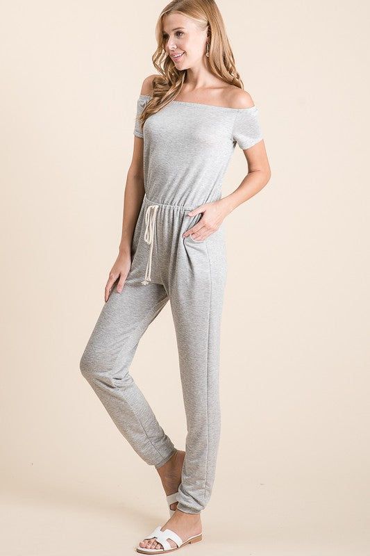 Take the Leap Off Shoulder Jumpsuit