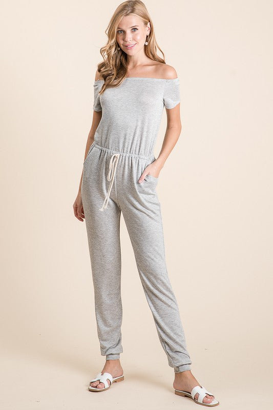 Pink Liberty Take the Leap Off Shoulder Jumpsuit Grey