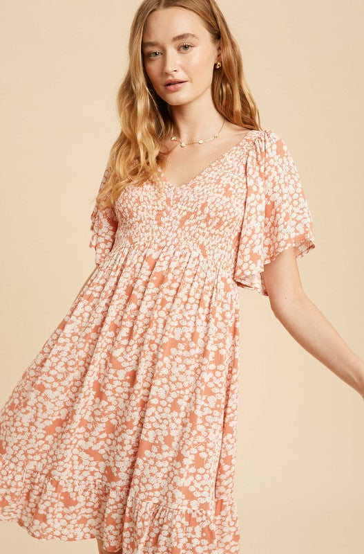 Pink Liberty Dainty Floral Flutter Sleeve Smocked Mini Dress
