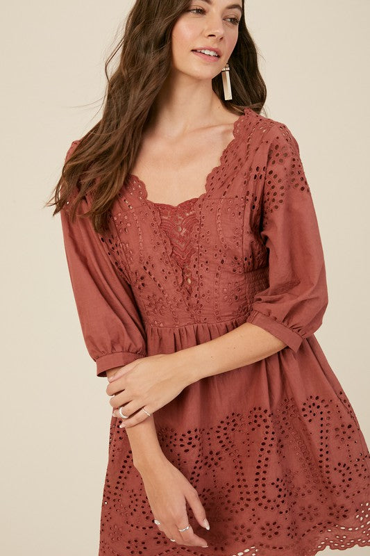 On Pink Liberty A Whim Embroidered Cotton Eyelet Dress Brick