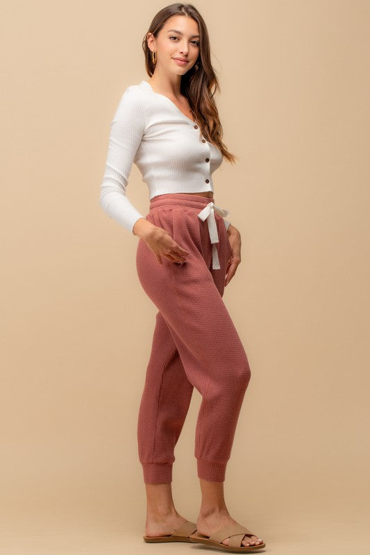 Pink Liberty All Tied Up Thermal Joggers with Drawstring Waist Rose
