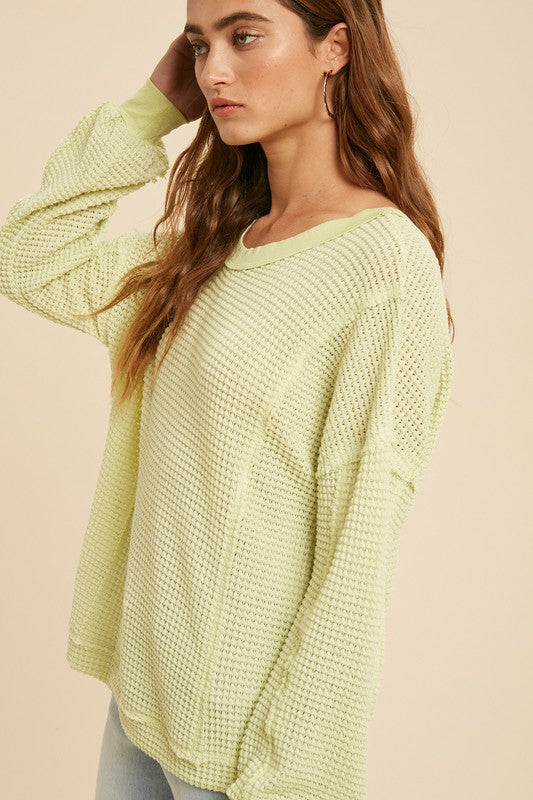 Pink Liberty Open Back Waffle Knit Top Lime
