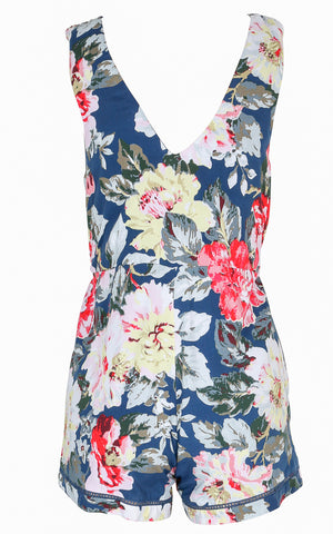 Floral Romper with Gathered Waist