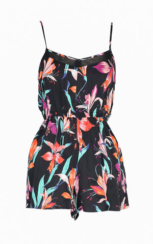 Botanical Print with Gathered Waist Romper Playsuit