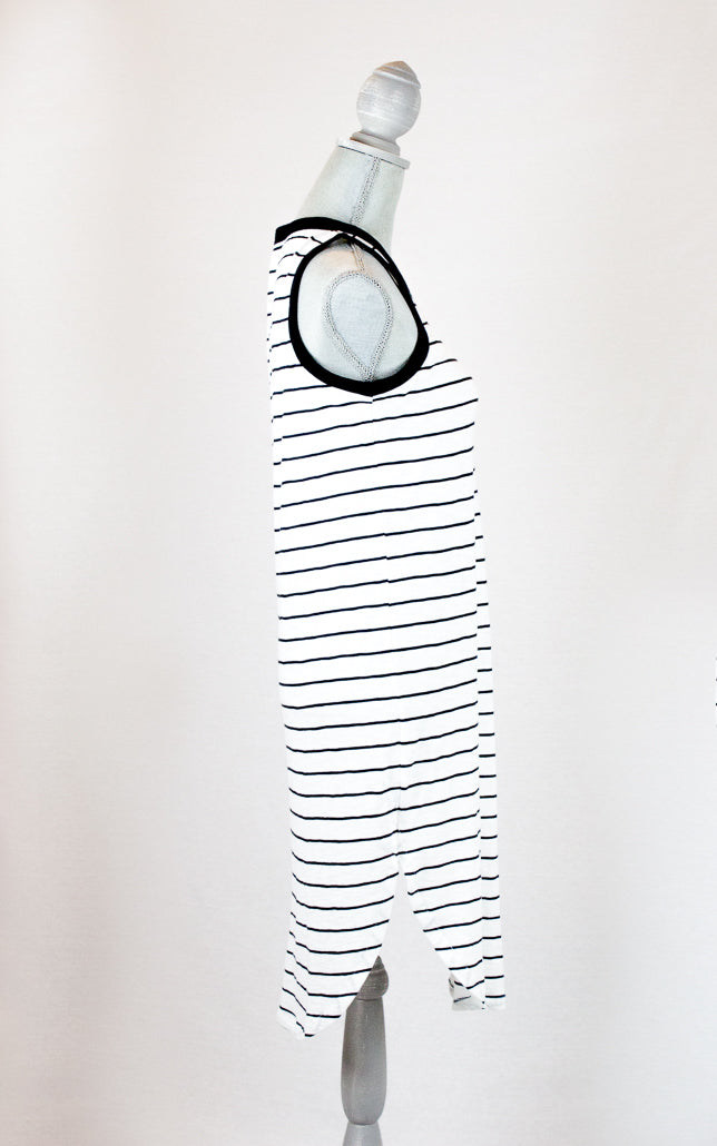Navy Blue and White Cotton Stripe Sleeveless T-Shirt Dress