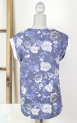 Blue Floral Rhapsody Muscle T-shirt