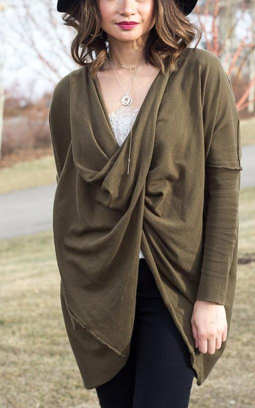 Slouchy Fine-Knit Long Sleeve Twist Top