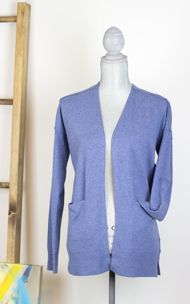 Rustic Blue Mix Open Front Cardigan with Pockets