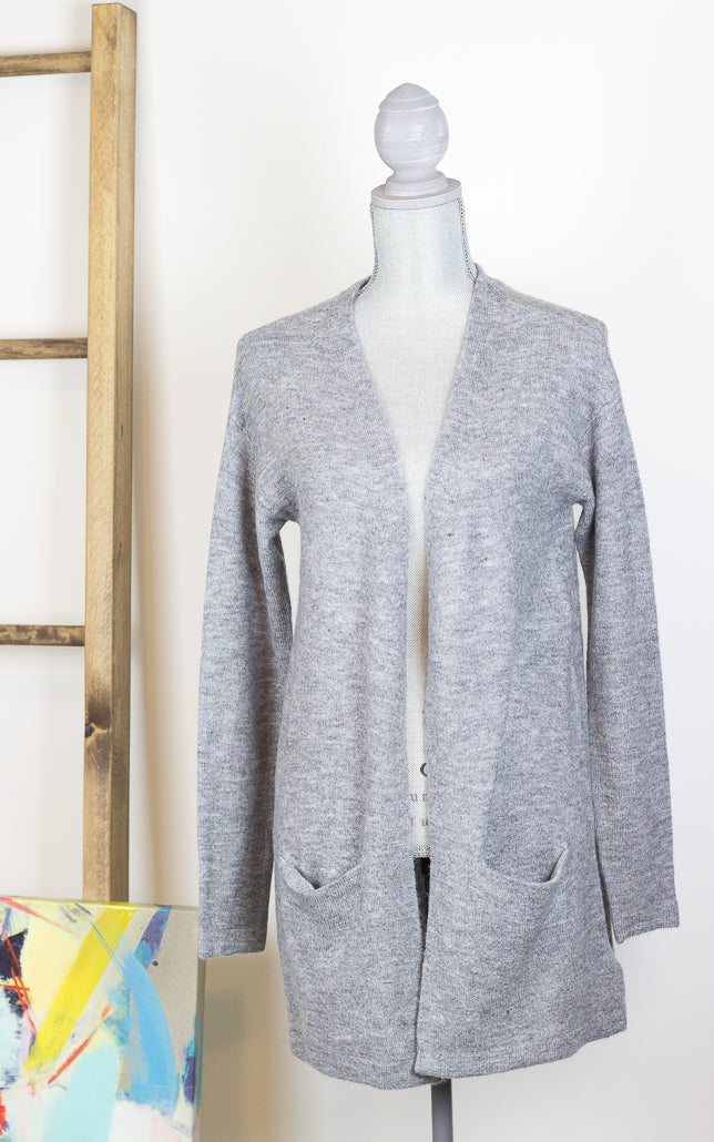 The Rowe Longline Heather Grey Wool Cardigan with Pockets