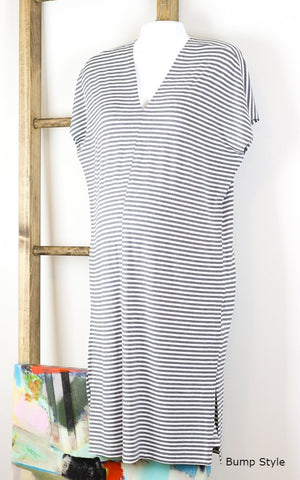 Striped Double-V Lounger Jersey Dress