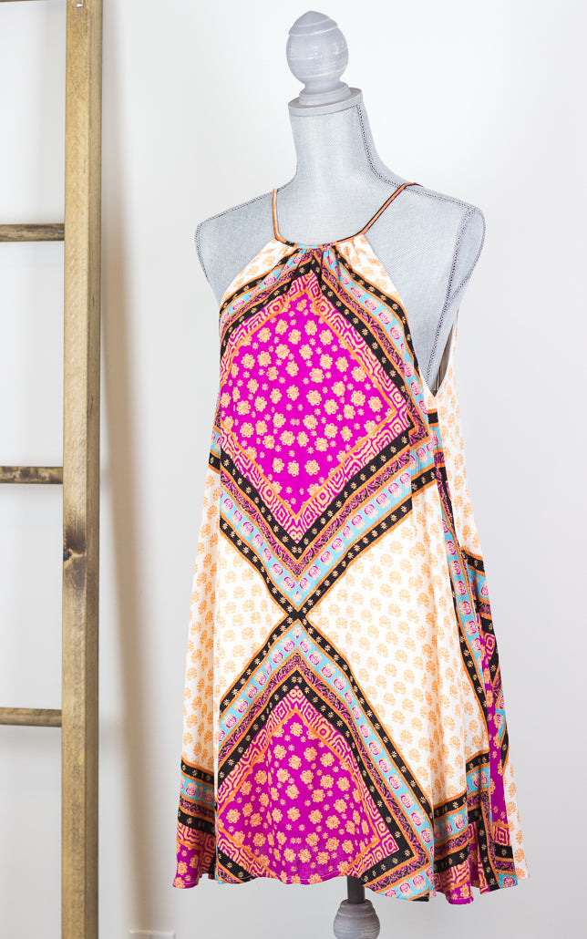 Boho Block Swing Dress
