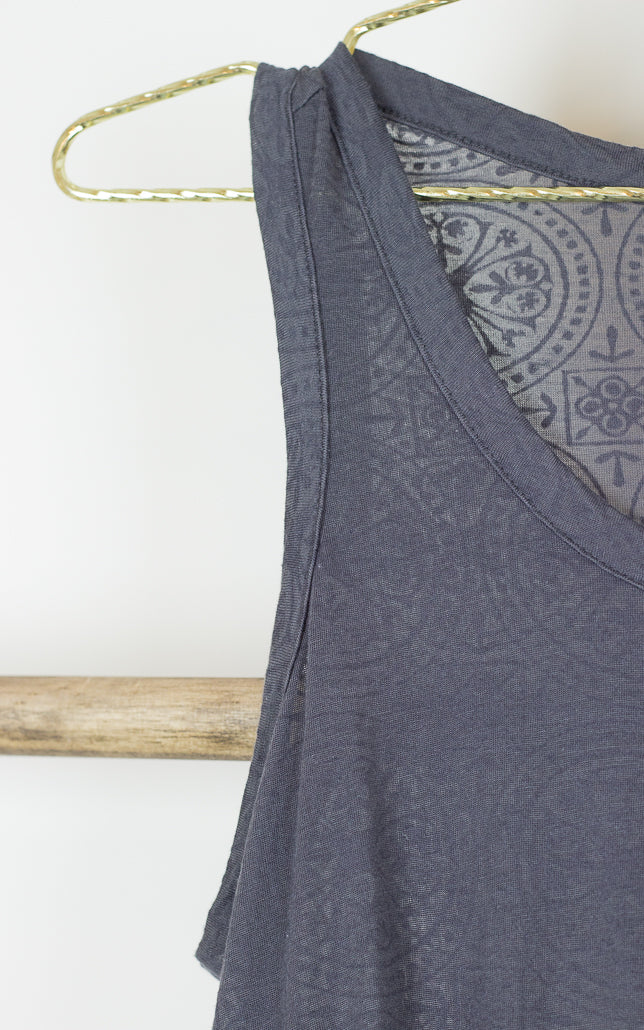 Burnout Swing Tank Top with Tile Border Pattern