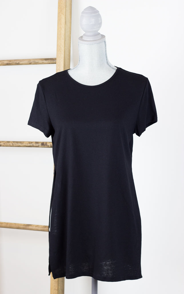 Side Split Jersey Tunic Tee Black