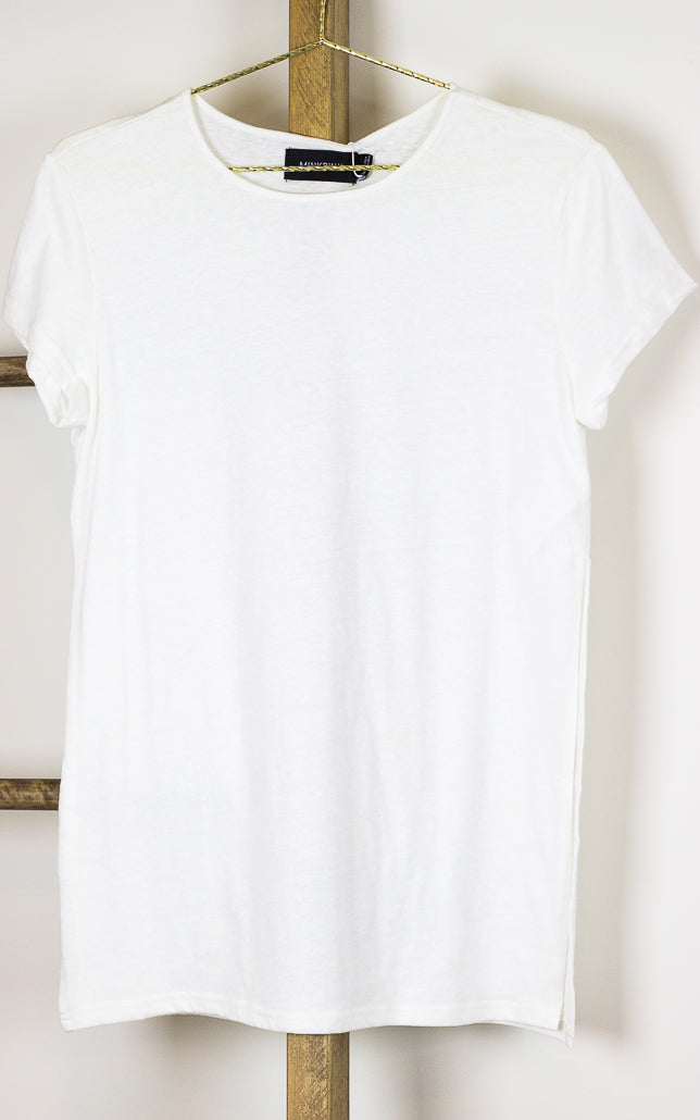 Side Split Jersey Tunic Tee White
