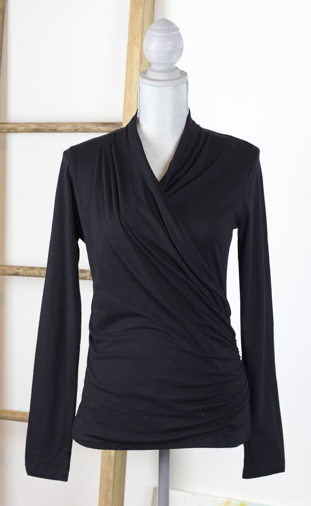 Elaine Long Sleeve Wrap Crossover Top with Ruching