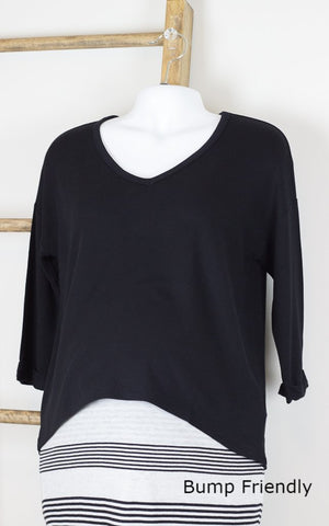 V-Neck 3/4 Length Top Black